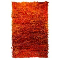 Antique Tulu Turkey Hand Knotted Wool Orange Rug, circa 1980