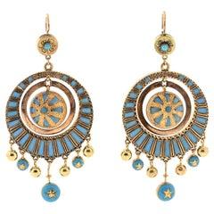 Antique Victorian 14 Karat Gold Blue Enamel Dangling Earrings