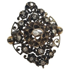 Antique Victorian Brooch with .58 Carat of Rose Cut Diamonds in Gold