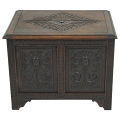 Antique Victorian Carved Oak Coffer, Blanket Box, Chest, Scotland 1900, 1738