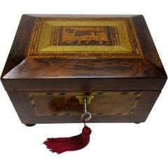 Antique Victorian Rosewood Tunbridge Ware Double Tea Caddy Box, 19th Century