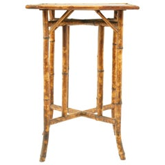 Antique Victorian Two-Tier Bamboo Oriental Lamp Side Table, Scotland, 1870