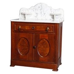 Antique Victorian Walnut & Burl Marble-Top Wash Stand, circa 1880