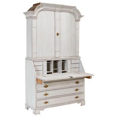 Antique White Painted Secretary Bureau