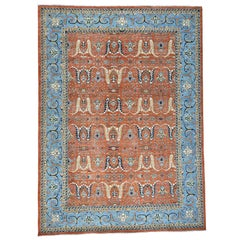 Antiqued Bijar Garus Design Hand Knotted Pure Wool Rug