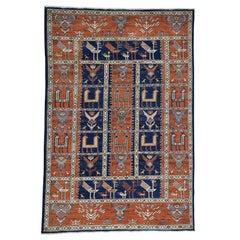Antiqued Caucasian Akstafa Design Handmade Vegetable Dyes Rug