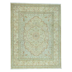 Antiqued Tabriz with Pastel Colors Hand Knotted Oriental Rug