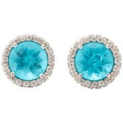 Apatite Diamond White Gold Earrings