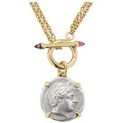 Apollo Patraos Ancient Silver Coin Pendant Rhodolite Garnet Yellow Gold Necklace