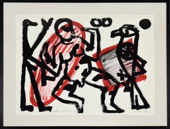"""Adler und Tänzer 2"" by A.R. PENCK - Abstract, Contemporary, Gouache on paper"
