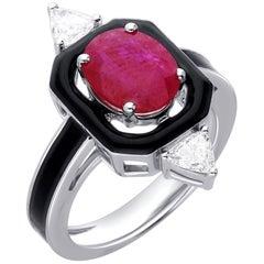 Araya 0.32 Carat Diamond Trillion & 2.05 Carat Mozambique Ruby Black Enamel Ring