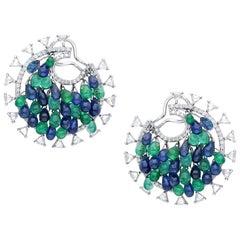Araya 39 Carat Blue Sapphire and Emerald Drops with 3.67 Carat Diamond Earrings