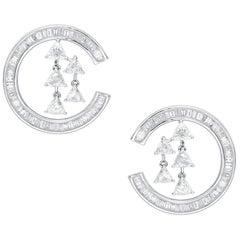 Araya 3.96 Carat Baguette and Trillion Diamond Earrings in 18 Karat White Gold