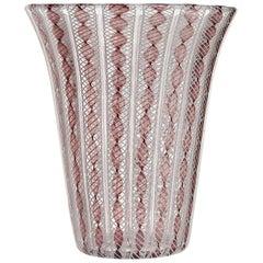 Archimede Seguso Murano Purple White Zanfirico Ribbons Italian Art Glass Vase
