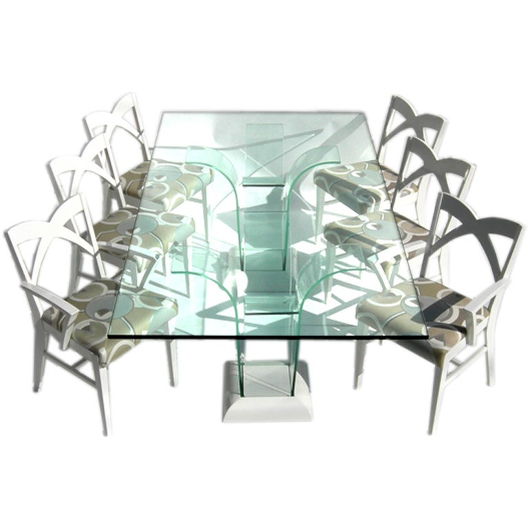 Modernage Glass Dining Table Chairs Sale Stdibs