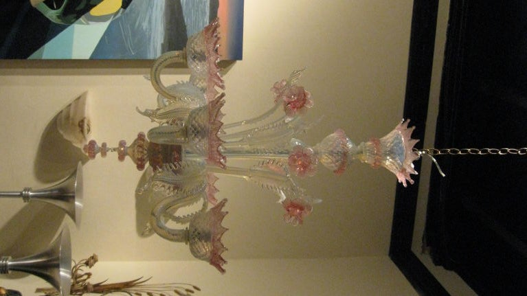 Pink Murano Chandelier With Six Arms At Stdibs