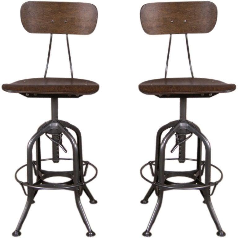 Vintage industrial wood and metal adjustable toledo stool at 1stdibs