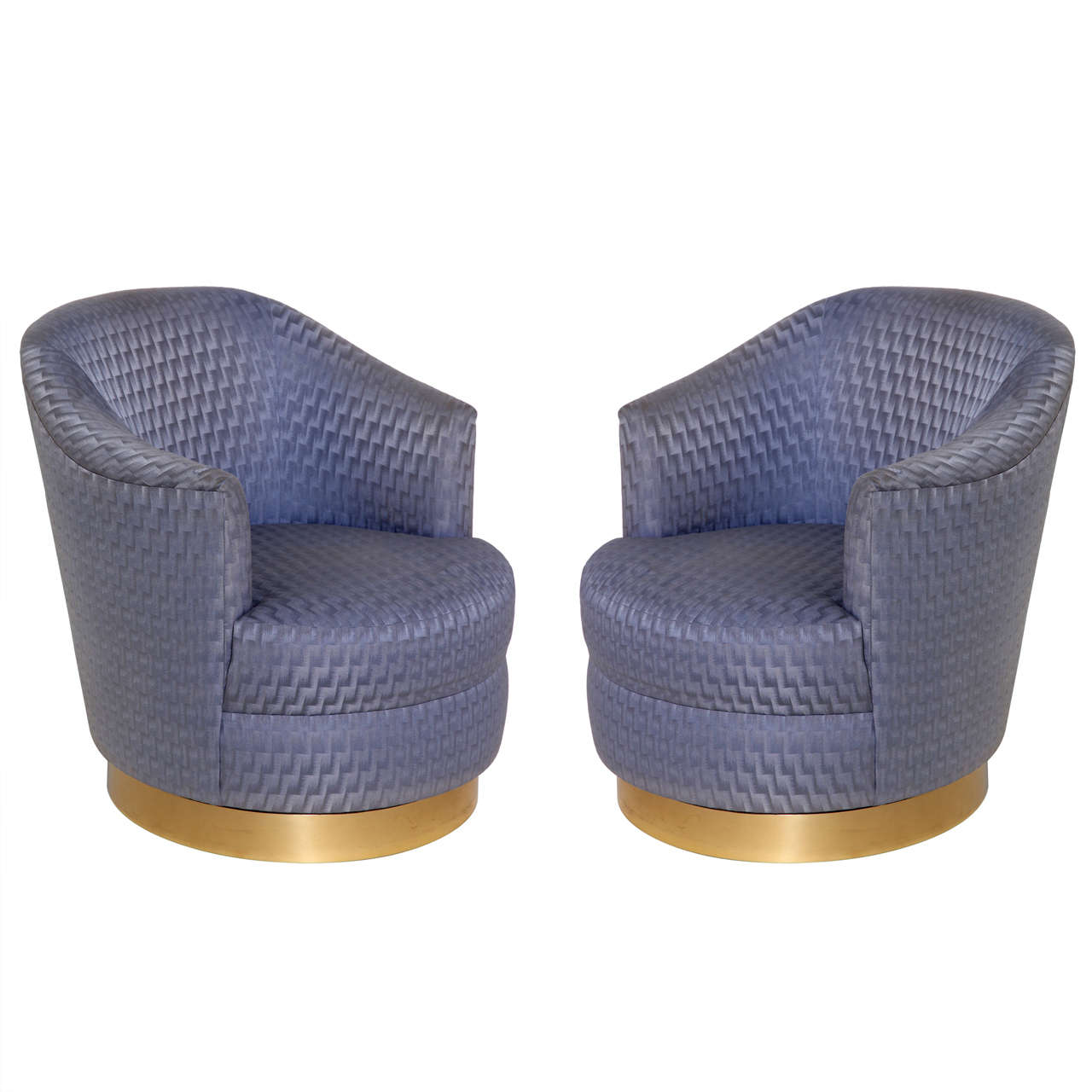 Pair Of Barrel Back Swivel Club Chair By Karl Springer At