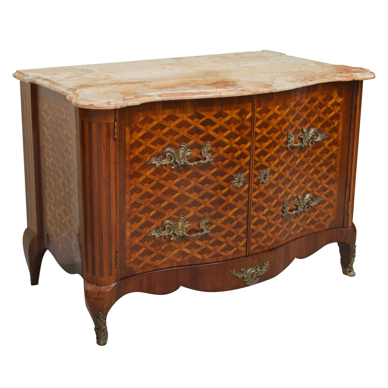 Louis Xv Style Walnut Fruitwood Parquetry Commode Marble Top Store