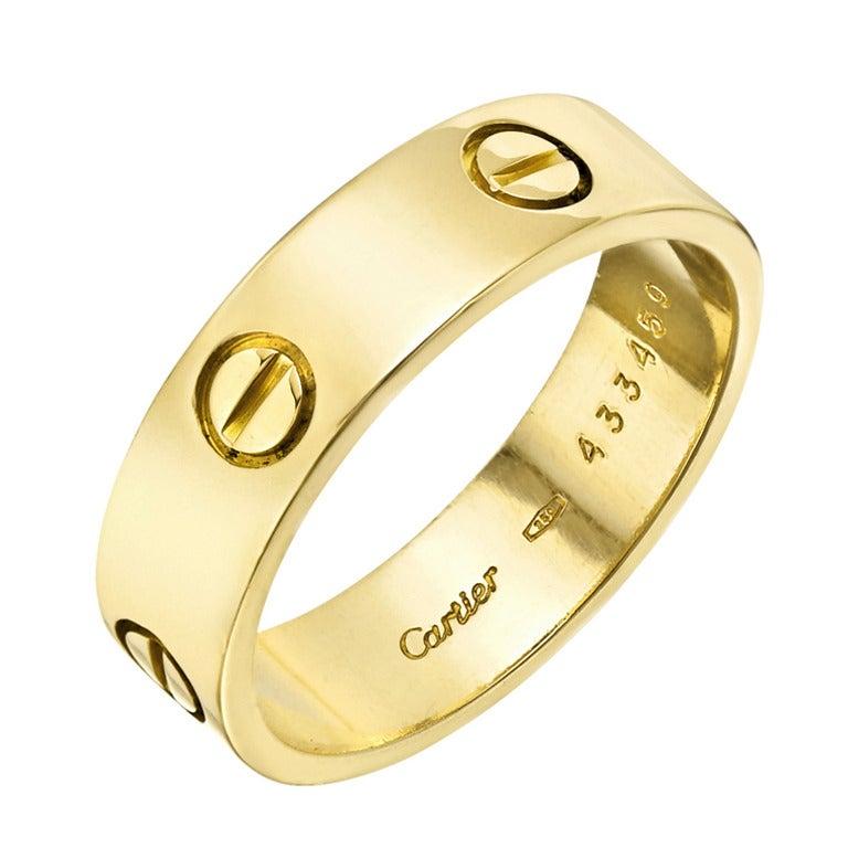 Cartier Mens Gold Love Wedding Band At Stdibs