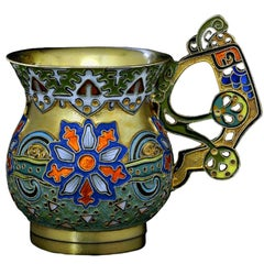 Antique Russian Cloisonne Enamel Vodka Cup by Faberge