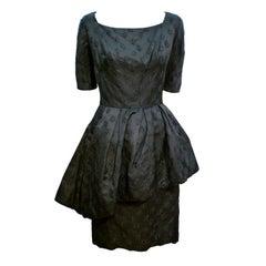 Werlé 50s Silk Jacquard Cocktail Dress w/ Asymmetrical Peplum