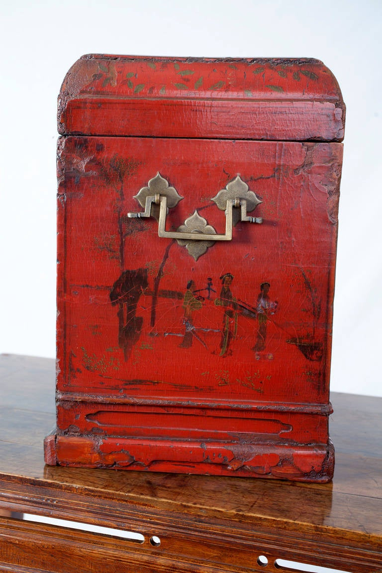 Th Century Chinese Officials Red Lacquer Travelling