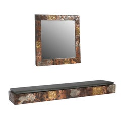 Paul Evans Patchwork Console and Mirror, circa 1970s