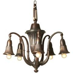 Original Typical Viennese Art Deco 20th Century Brass Chandelier -six flames