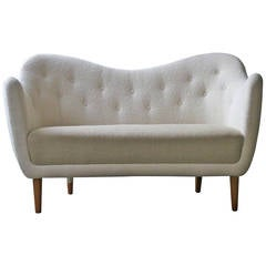 Elegant Curved Sofa with Teak Legs by Finn Juhl Designed in 1948