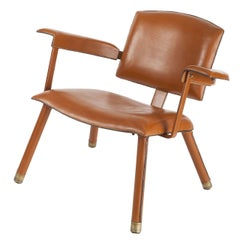 Jacques Adnet, Rare Leather Armchair, France, C. 1950