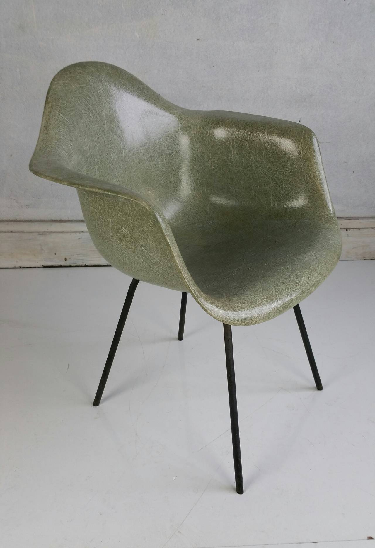 Seafoam Green Charles Eames Arms Chair Second Year Production