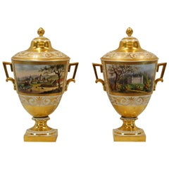 Pair German Porcelain Lidded Urns by the Eisenberger China Factory, Mid 19th C.