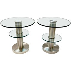 Gio Ponti 1990s Fontana Arte Pair of Clear Glass and Nickel Round Side Tables