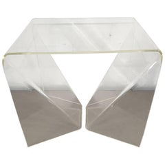 """Rare Neal Small """"Origami"""" Table in Clear Lucite"""