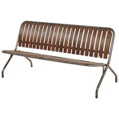 Wood and Metal Folding Bench from Early 20th Century France