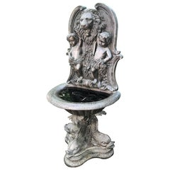 Large Cast Bronze Cherub, Lion and Dolphin Fountain