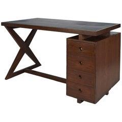 Pierre Jeanneret: Rare, Spectacular X Leg Chandigarh Desk, France/ India c. 1960