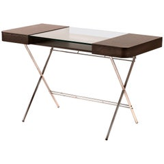 Contemporary Cosimo Desk by Marco Zanuso Jr. With Wenge Stained Oak Veneer Top
