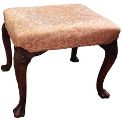 18th Century Georgian Walnut Stool with Trifid Feet and an Upholstered Seat
