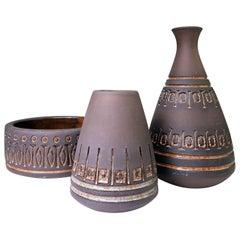 Set of Rustic Swedish Modern Ulla Winblad for Alingsås Vases and Bowl, 1960s