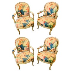 Set of Four Carved and Paint Decorated Fauteuils by Jansen Turned Carved Legs