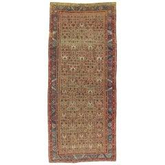 Antique Heriz Northwest Persian Runner, Handmade Rug Light Blue, Taupe, Rust Red