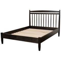 Hill Bed by Tretiak Works, Contemporary Handmade Oxidized Oak Queen Bed