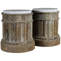 18th Century Pair of English Table Pedestals with Marble Tops