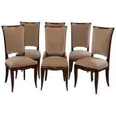Set of Six Midcentury Italian Polished Walnut Dining Chairs