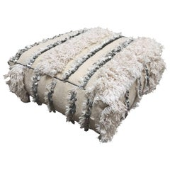 Moroccan Wedding Floor Pillow Pouf with Silver Sequins and Long Fringes