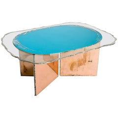 Contemporary Coffee Table Silvered Art Glasses Clear Silvered and Aquamarina