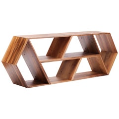 Tetra, Solid Walnut Contemporary Customisable Shelving Units by Made in Ratio