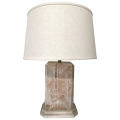 Southwestern Style Cerused White Washed Oak Table Lamp by Sarreid Ltd